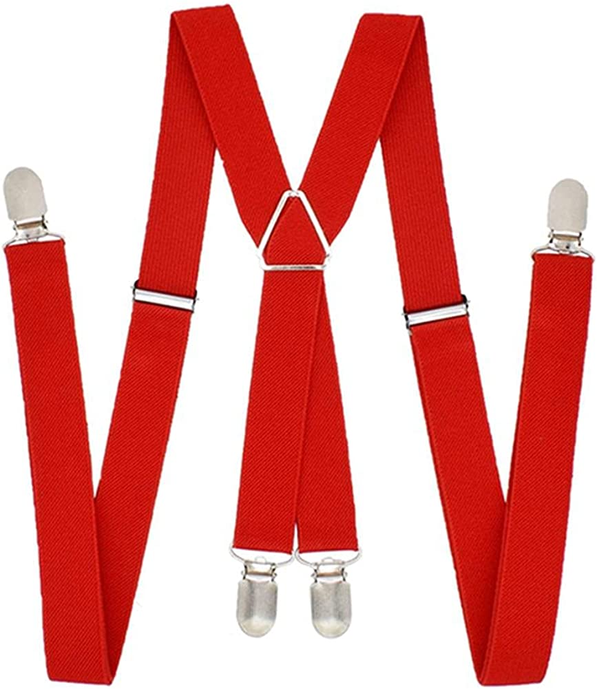 1 Inch Suspenders Men Solid Color Polyester Elastic Adult Belt X-Shape Braces With 4 Clips For Women