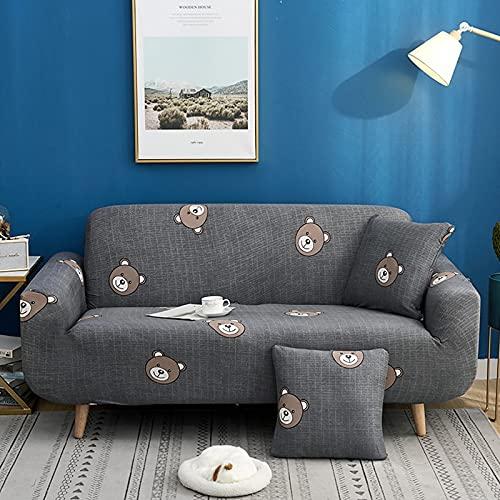 Funda de sofá Gris de Alta Elasticidad, Funda de sofá con patrón de Colores, Funda de sofá Universal Ultrafina, Funda de sofá pequeña, Mascotas para niños A19 1 Plaza