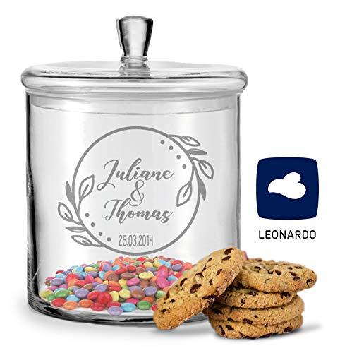 GRAVURZEILE Leonardo Keksglas mit Gravur - Keksdose Bonbonglas mit Deckel - Vorratsdose personalisiert mit Namen & Datum - Geschenk für Paare, zur Hochzeit als Geldgeschenk Farbe Blumenkranz