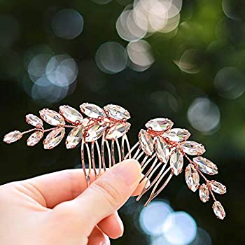 Catery Bride Wedding Hair Comb Rhinestones Braid Headpieces Bridal Hair Accessories for Women and Girls Pack of 2  Rose Gold