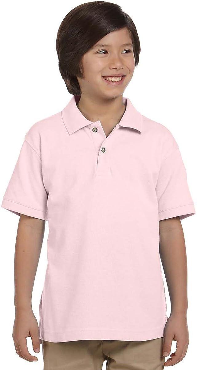 Harriton Youth Short-Sleeve Pique Polo Shirt, Blush, Large
