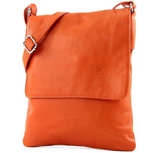modamoda de - T33 - ital Umhänge/Schultertasche aus Nappaleder, Farbe:Orange