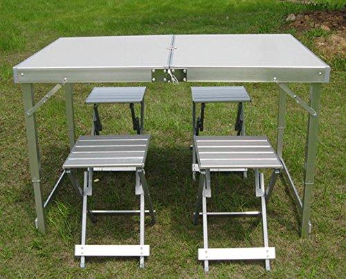 MHGAO Outdoor Vouwtafels & Stoelen Set Aluminium Panelen Draagbare Eettafel BBQ Tafel Beach Tafel