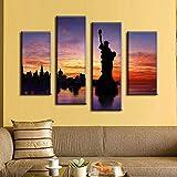 Cuadros de pared de arte de pared para sala de estar 4 unids / set lienzo arte paisaje pintura al óleo impresiones Modernoas 30x60cm 30x80cm sin marco