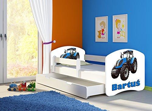 Kinderbett Jugendbett mit einer Schublade und Matratze Weiß ACMA II 140 160 180 40 Design (140x70 cm + Bettkasten, 42 Traktor)