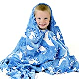 Ocean Blanket Glow in The Dark Luminous Ocean Animal Blanket for Kids - Soft Plush Blue Sea Creature Blanket Throw for Girls & Boys - Large 60in x 50in Glowing Shark & Turtle Blankets Gift