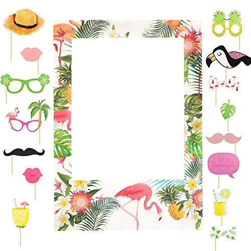 Yuccer 16 Stücke Hawaiian Photo Booth Prop Selfie Photo Frame Flamingoss Tropic Deko Sommerfest Hochzeit Baby Dusche Geburtstag Party (16 Stück)