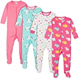Gerber Baby Girls' 4-Pack Footed Pajamas, Unicorns Cats Pink, 0-3 Months