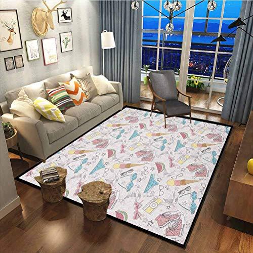 Teen Room Premium Rug Best Long Carpet for Bedroom Floor Girlish Sunglasses Camera Ice Cream Underwear Watermelon Modern Graphic Print Multicolor60x78 Inch