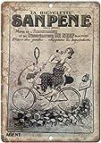 Sanpene Bicycle France Cartel de chapa vintage, cartel de cartel de metal, placa de pintura de hierro retro, decoración de pared artística, 12 × 8 pulgadas