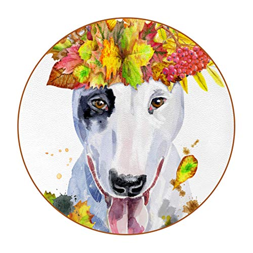 Coasters for Drinks Dog wreath Set of 6 Coasters, Microfiber leather, Protect Against Water Marks or Damage - Fit All Cups, 3.4' Size Fits, Colored Coasters