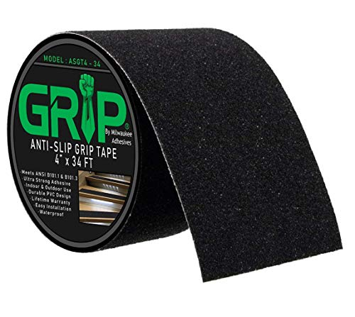 Anti Slip High Traction Grip Tape for Stairs, Steps, Indoor, Outdoor - Black (4' x 34 Feet)