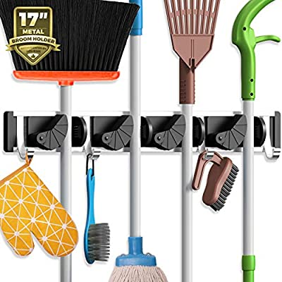 Holikme Mop Broom Holder Wall Mount Metal Pantry Organization and Storage Garden Kitchen Tool Organizer Wall Hanger for Home Goods (4 Positions with 4 Hooks, Black) from Holikme