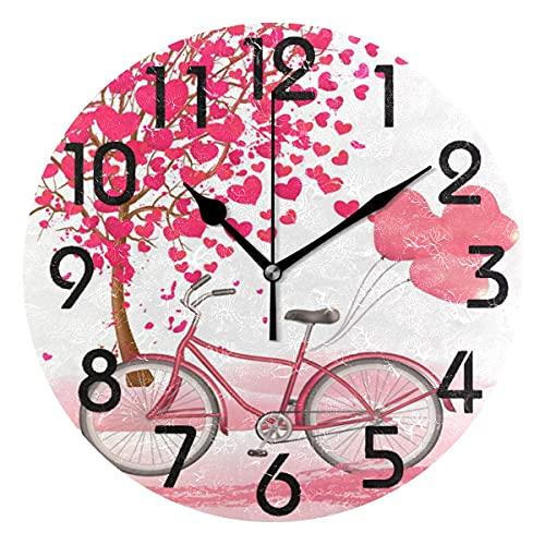 Chic Valentine 's Day Romántico Corazón Árboles Bicicleta Reloj de Pared Redondo, Reloj de Escritorio silencioso analógico de Cuarzo con Pilas para el hogar, la Cocina, la Oficina, la Escuela