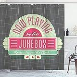 Jukebox cortina de ducha por Ambesonne, Old diseño de fiesta de impresión DIGITAL RETRO envejecido música Radio Set, baño Set de decoración de tela con ganchos, marrón dorado y turquesa
