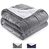 Andecor Soft Fluffy Weighted Blanket (15 lbs, 48 x 72 Inch, Twin Size) Faux Fur Warm Breathable Sherpa Blankets for Adults Women Men, Grey