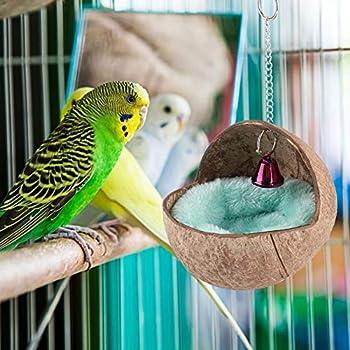Nidification à couver, sûre et Non Toxique 5,12 Pouces de Largeur Noix de Coco + Velours attirent Votre lit de nid d'élevage en Cage arrière pour Animaux de Compagnie, pour Les Oiseaux
