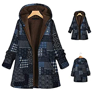 Women's Winter Warm Vintage Coat Floral Print Zipper Hooded Outerwear Oversize Plush Lined Long Parka