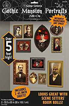 amscan Gothic Mansion Portraits Scene Setters | Halloween Decorating Kit,Multi Color,65  x 33 1/2