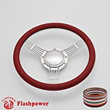 Flashpower 14'' Billet Banjo Half Wrap 9 Bolts Steering Wheel with 2'' Dish and Horn Button (Red)