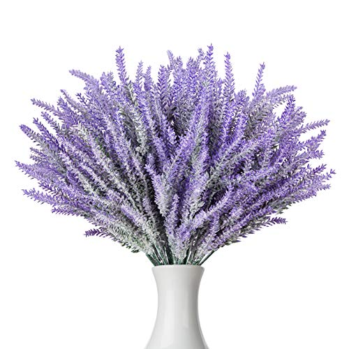 Ozera 12 Bundle Artificial Flowers Fake Lavender Plant, Real Touch with Lavender Flowers Stems Bouquet for Office Wedding Garden Party Lavender Home Decor (Purple)