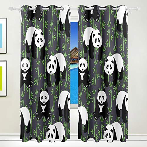 Lafle handbemalte Pandas mit Bambus-Vorhang, dicker Stoff, einseitiger Druck, Polyester für Wohnzimmer oder Schlafzimmer, Dekoration mit Vogue Stil Hängen, Größe 213,4 x 139,7 cm