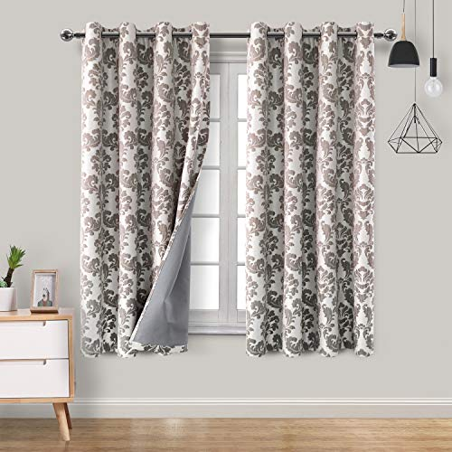 Hiasan Damask 100% Blackout Curtains for Bedroom - Grommet Noise Reducing & Thermal Insulated Floral Jacquard Window Curtains for Living Room, 52 x 63 Inches Length, Brown, 2 Drape Panels