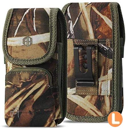 Military Grade Camo Case w/Storage Credit Card Pocket, Compatible w/iPhone Xs Max XR iPhone 8 Plus,7 Plus,6s Plus, OnePlus 6T Rugged Canvas Pouch Holster Carrying Bag Fits Phone with Defender