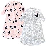 Hudson Baby Unisex Baby Long-Sleeve Fleece Sleeping Bag, Pink Penguin, 0-9 Months