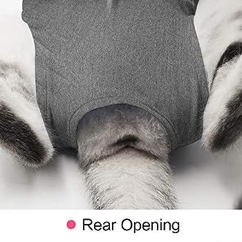 Doton Cat Professionnel Restauration Convient pour abdominaux Collerette des plaies ou des Maladies de la Peau, Alternative pour Chiens et Chats, après la Chirurgie Porter, Maison Vêtements (M, Gris)