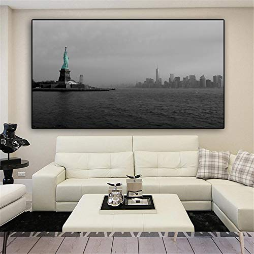 BLLXMX Wall Art Skyscraper Manhattan USA New York City Bay Statue of Liberty Posters and Prints Canvas Painting-50x100cm No Frame