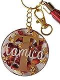 Llavero con nombre o mensaje personalizado, hecho individualmente, rosas auténticas, cualquier color posible, pieza única, regalo amuleto de la suerte, Pascua, día de la madre, cumpleaños
