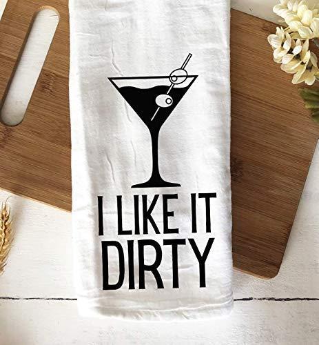 Funny Kitchen Towel I Like It Dirty Martini Bar Towel Housewarming Gift