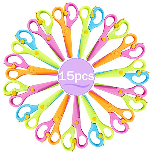 15 Packs Plastic Child Safety Scissors Preschool Training Scissors,Child Craft Scissors with Ergonomic Handle for Kids Paper-Cut School Office Supplies(4 Colors)