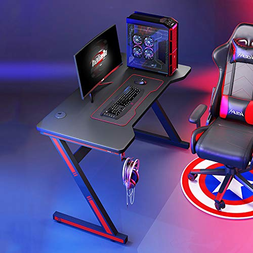 Nileco Stable Z Shaped Home Office PC Gaming Table for Sons'gift,Racing Style Gamer Desk Workstation with Headphone Hook,Ergonomic Gaming Desk with RGB Led Light