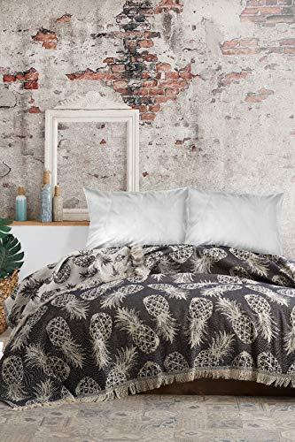 BOHORIA® Premium Tagesdecke Bali - Bettüberwurf Wohndecke Wendedecke Kuscheldecke Sofadecke mit Muster | extra-groß 220 x 240 cm (Ananas)