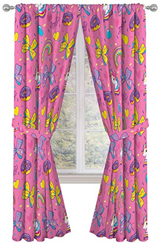 """Nickelodeon JoJo Siwa Sprinkles & Ice Cream 84"""" Inch Drapes - Beautiful Room Décor & Easy Set Up, Bedding - Curtains Include 2 Tiebacks, 4 Piece Set (Official Nickelodeon Product)"""