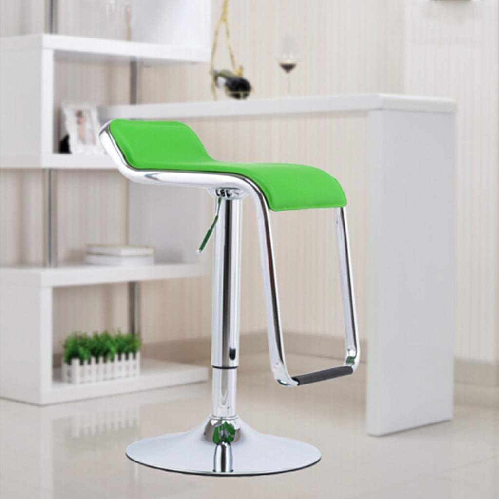 LUO Chaise de salle à manger rotative moderne réglable en hauteur, 360 degrés de rotation - repose-pieds, base en plaque de chrome charge maximale de 120 kg (60 à 80 cm),Noir Vert