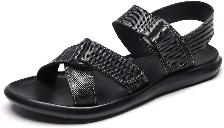 Hetai Open Toe Summer Walking Flat Slipper Hook & Loop Strap Athletic Casual Beach Sport shoes Leather Upper Adjustable Lightweight for Men's Outdoor Sandals