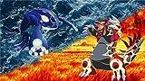 XHJY 500 Piezas Rompecabezas De Madera para Adultos Rompecabezas De Juguete Marco De Fotos Familiar Regalo, 20In X 15In,Pokémon Rubí Omega Y Zafiro Alfa