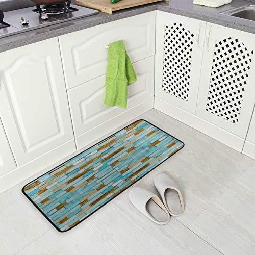 Kitchen Rug Mat Blue Wood Standing Anti Fatigue Comfort Flooring Door Mat Oil Proof Floor Mat and Easy to Clean
