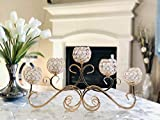 Girzey Crystal Candlestick Crystal Chandelier Horizontal Table Standing Candelabra Wedding Centerpiece Candle Holder (Gold)