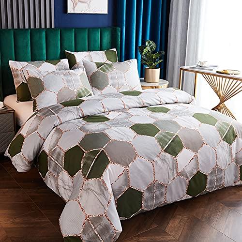 Feelyou Frauen-Bettwäsche-Set, modernes geometrisches Design, Wende-Bettwäsche-Set, sechseckig, Marmor-Dekor, Tagesdecke für Kinder & Erwachsene, metallisches Grün / Grau