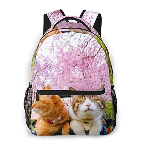 Lawenp Mochila Unisex de Moda, Bonito Gato, Mirando Flores de Cerezo, Mochila Ligera para Ordenador portátil, para Viajes Escolares, Acampar al Aire Libre