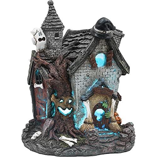 DUCUT Decoración de Halloween, estatua de casa de Halloween, con luz LED, estatua de casa con sombrero de bruja, calabaza, regalo para niños o amigos