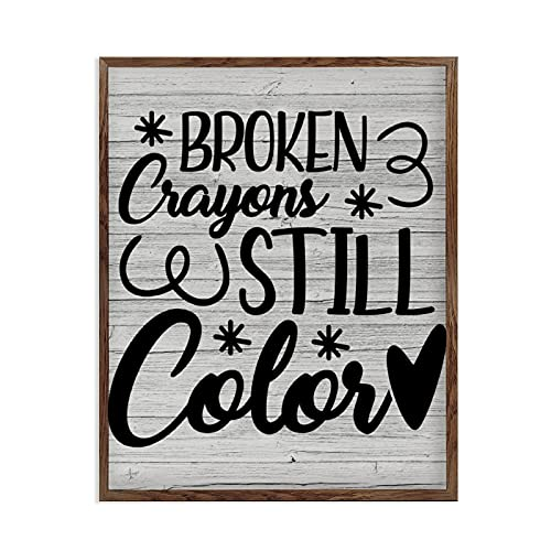 DoreenAbe Inspirational Wood Framed Sign with Quotes Broken Crayons Still Color, Rustic Farmhouse Motivational Wall Decor for Home, Master Bedroom, Kitchen, Living Room 16×20inch