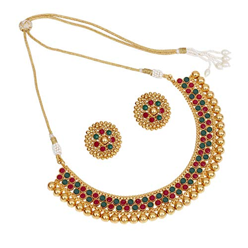 SANARA Indian Bollywood Ethnic Gold Plated Choker Style Green Necklace Set For Partywear Women and Girls Wedding Polki Jewelry (Red Green)