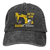 NVJUI JUFOPL Boys' See You Later Excavator Baseball Cap Washed Vintage Funny Dad Hat Black