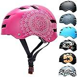 SkullCap® Casco de Skate y BMX - Bicicleta Y Scooter Eléctrico, Diseño: Pink Mandala, Talla: M (55-58 cm)