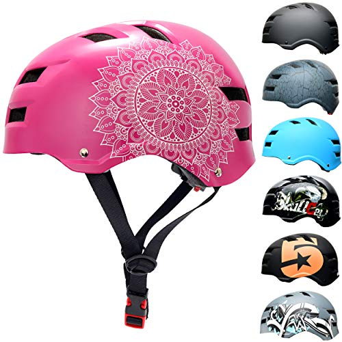 Skullcap® Skaterhelm Erwachsene Pink Pink Mandala - Fahrradhelm Damen ab 14 Jahre Größe L 58-61 cm - Scoot and Ride Helmet Adult Pink - Skater Helm für BMX Inliner Fahrrad Skateboard